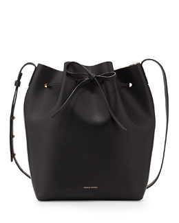 Mansur Gavriel Structured Leather Bucket Bag, Black/Gold