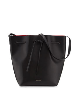 Mansur Gavriel Mini Coated Leather Bucket Bag, Black/Flamma
