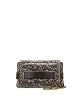 Chloe Elle Medium Snake Clutch Bag, Light Gray