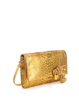 Tom Ford Alix Python Zip & Padlock Crossbody Bag, Gold
