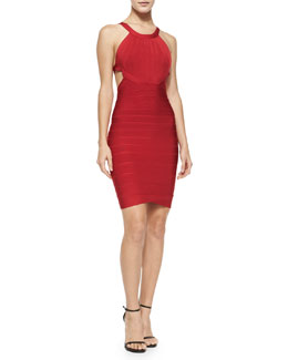 Herve Leger Cutout-Back Halter Bandage Dress