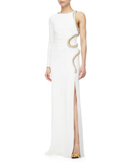 Roberto Cavalli Snake-Embellished One-Sleeve Gown