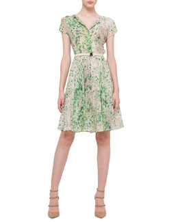 Akris Clover-Print Crepe Fit-And-Flare Dress