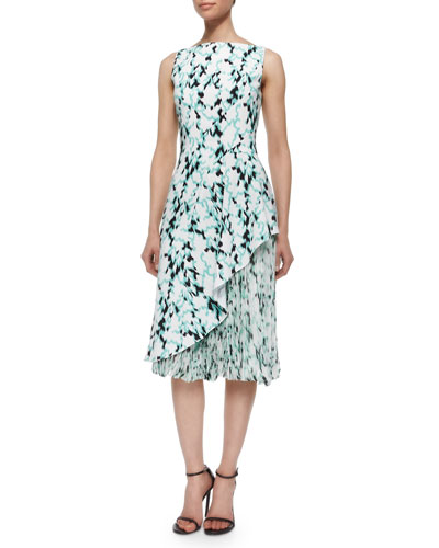 Ikat Asymmetric Ruffled Accordion-Pleated Dress