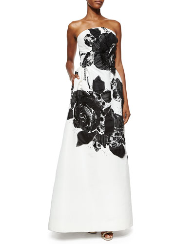 Strapless Floral Lace Organza Gown, White/Black