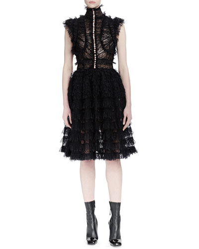 Sleeveless Lace-Ruffle Dress, Black