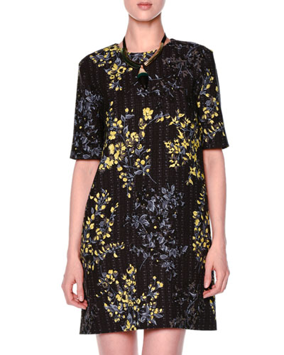 Floral Grid-Print Shift Dress