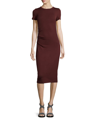 Ruched Jersey Short-Sleeve Midi Dress, Burgundy