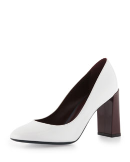 Fendi Patent Block Heel Pump, White/Bordeaux