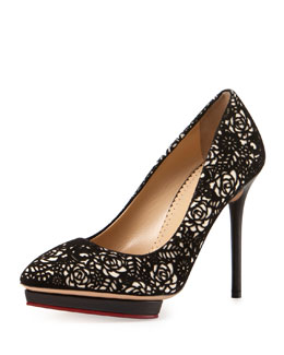 Charlotte Olympia Debbie Embroidered Suede Platform Pump