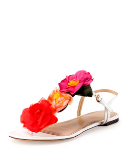 Charlotte Olympia Rosario Floral Flat Thong Sandal