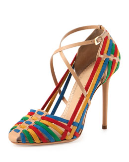 Charlotte Olympia Mariachi Woven Suede Crisscross Pump