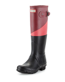 Hunter Boot Original Tall Asymmetric Colorblock Welly Boot