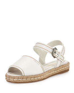Prada Leather Espadrille Sandal, Bianco