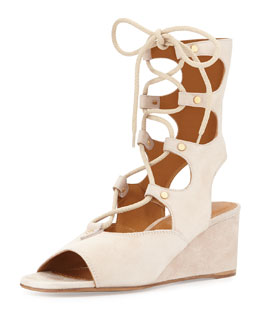 Chloe  Suede Gladiator Wedge Sandal, Cream Puff