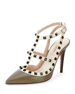 Valentino Rockstud Lacquer-Stud Slingback, Army Green