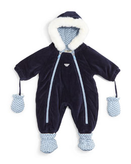 Hooded Velour Snowsuit, Indigo, Size 6-12 Months