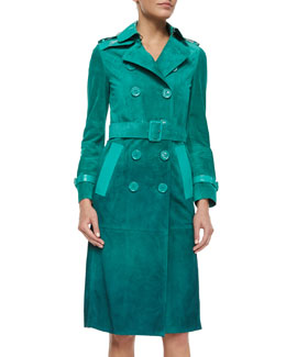 Burberry Prorsum Patent-Trimmed Ombre Suede Trenchcoat