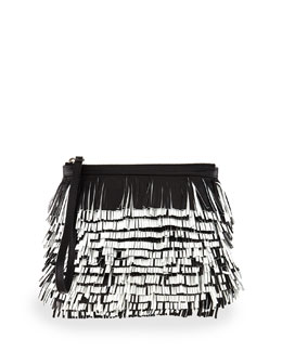 Proenza Schouler Bicolor Fringe Convertible Clutch Bag, Black/White