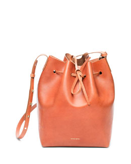 Mansur Gavriel Medium Coated Leather Bucket Bag, Medium Brown