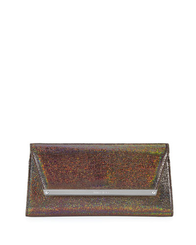 Margot Holographic Leather Clutch Bag