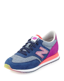 New Balance 620 Suede & Woven Trainer, Pink/Purple/Blue