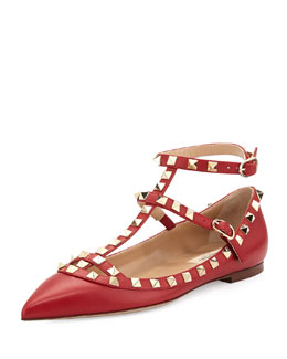 Valentino Rockstud Cage Leather Ballerina Flat, Red