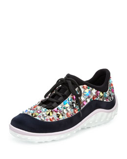 Miu Miu Jeweled Satin Lace-up Sneaker
