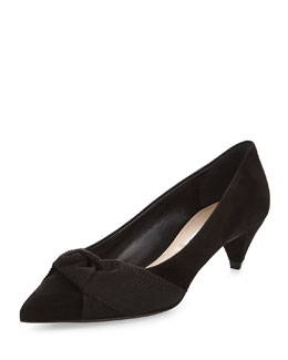 Miu Miu Bow-Detailed Suede Mid-Heel Pump, Black