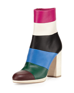 Colorblock Leather Ankle Boot, Multi