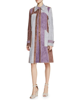 Derek Lam Tri-Tone Suede Patch-Pocket Trench Coat & Contrast Topstitched Suede Shift Dress