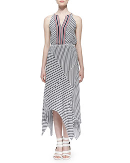 Joie Mahaut Sleeveless Striped Tank Top & Eleta Striped Asymmetric Maxi Skirt