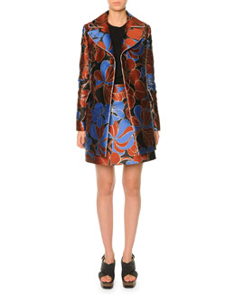 Hawaiian-Print Double-Breasted Coat & Hawaiian-Print Satin Mini Skirt