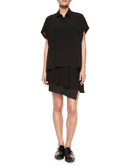 Derek Lam 10 Crosby Short-Sleeve Arched-Hem Blouse