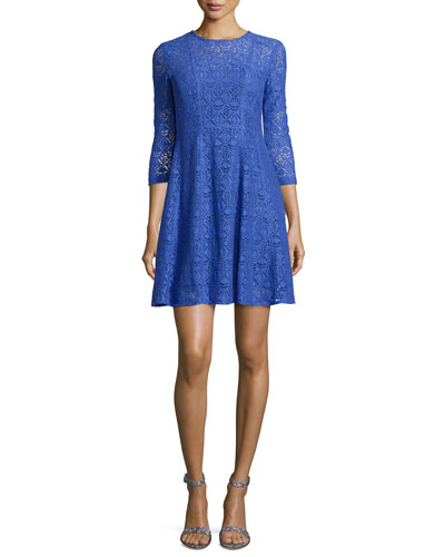 3/4-Sleeve Lace Fit & Flare Dress