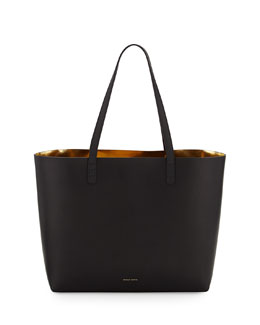 Mansur Gavriel Vegetable-Tanned Leather Large Tote Bag, Black/Gold