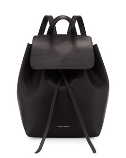 Mansur Gavriel Mini Coated Leather Backpack, Black/Flame