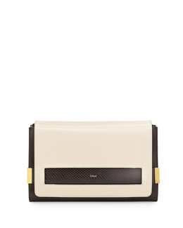 Chloe Elle Large Snake/Lambskin Clutch Bag, Black/White