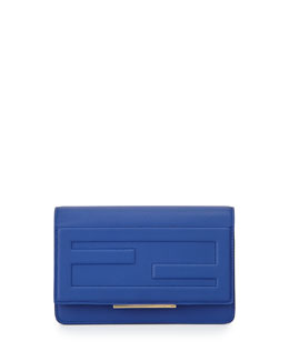 Fendi Leather Tube Wallet on a Chain, Cobalt Blue