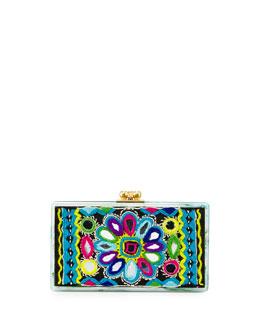 Edie Parker Jean Embroidery-Inlay Acrylic Clutch Bag