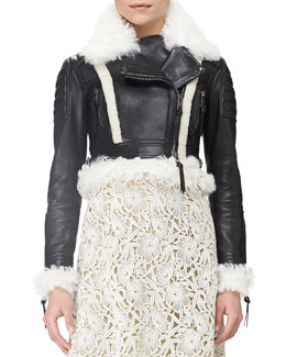 Burberry Prorsum Shearling Fur-Trimmed Cropped Leather Jacket, Black