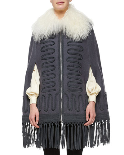 Soutache-Detailed Shearling Fur-Collar Cape, Gray