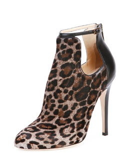 Jimmy Choo Luther Leopard-Print Cutout Calf Hair Bootie