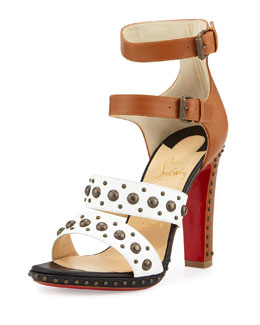Christian Louboutin DecoDame Studded Red Sole Sandal, White/Cuoio