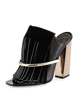 Proenza Schouler Leather Fringe Banded Mule, Black