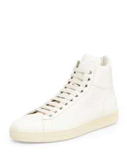 TOM FORD Russel Leather High-Top Sneaker, White