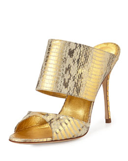 Manolo Blahnik Ripta Snake Double-Band Mule Slide, Gold