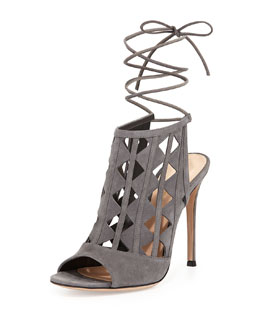 Gianvito Rossi Pyramid Cutout Suede Sandal