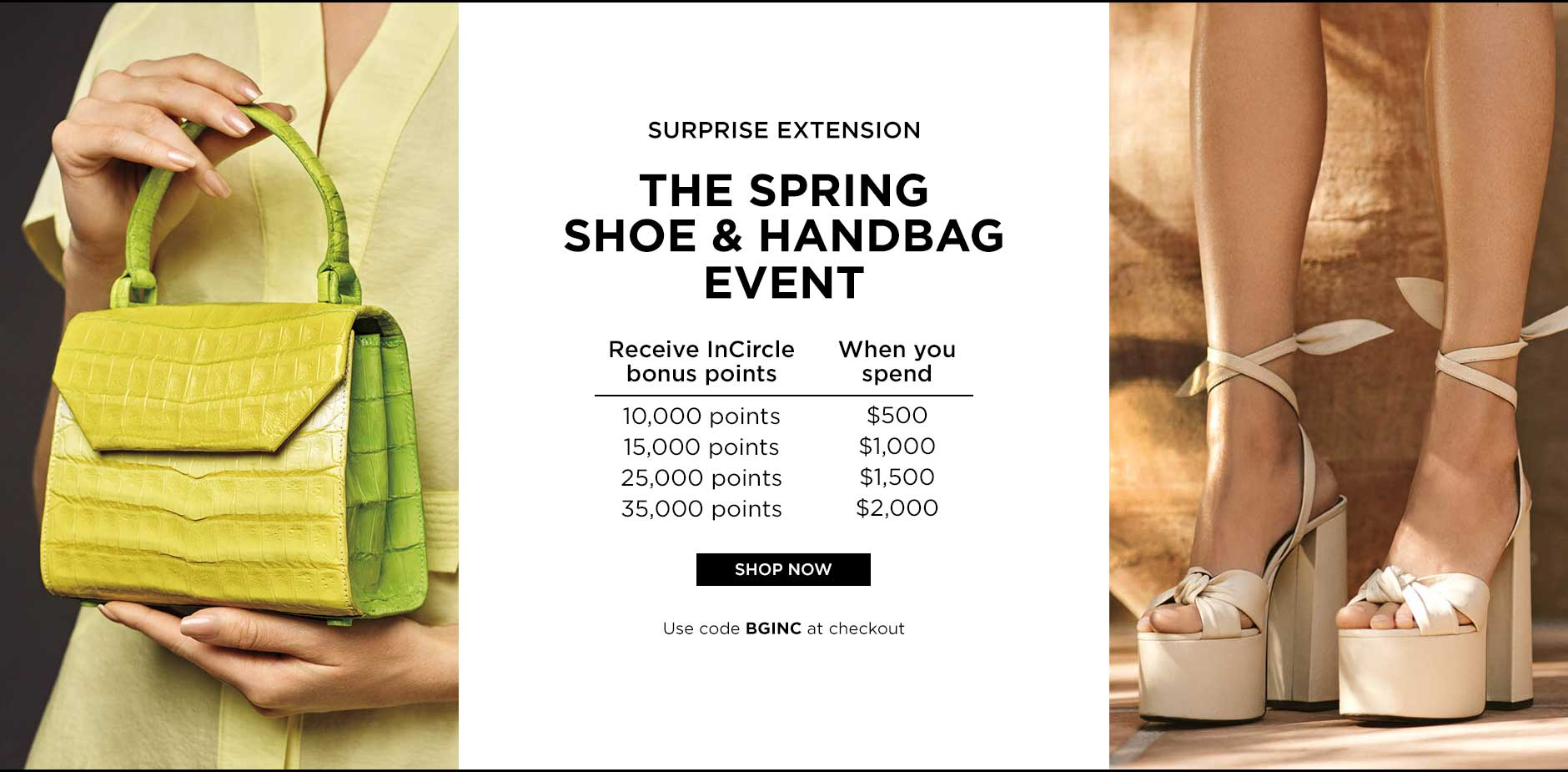 Shop Spring Shoe and Handbag Event