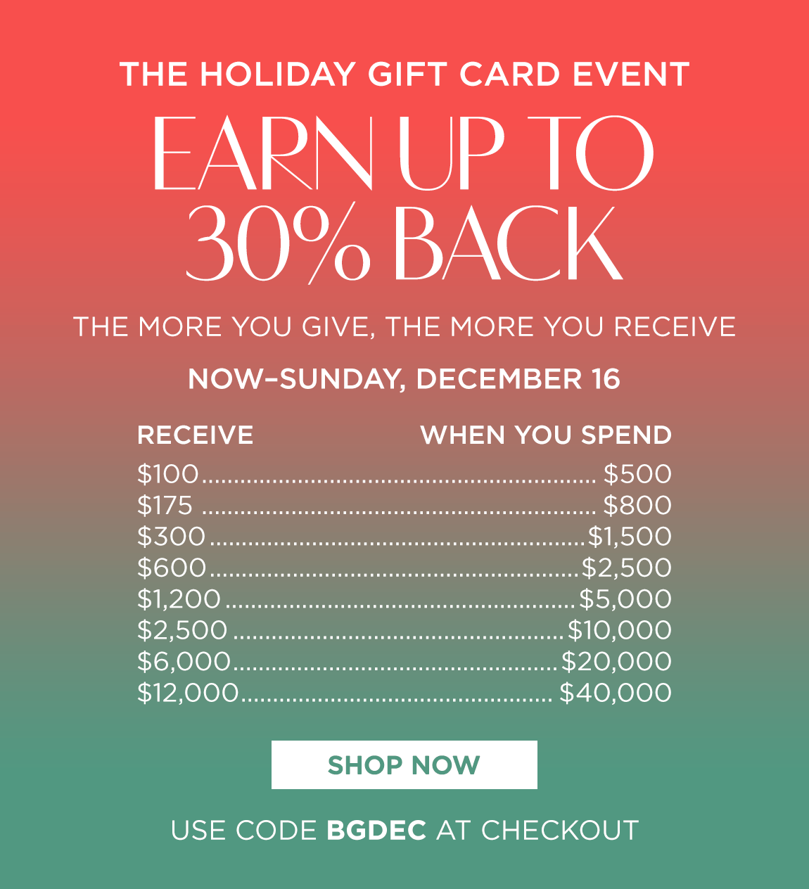 The Holiday Gift Card Event